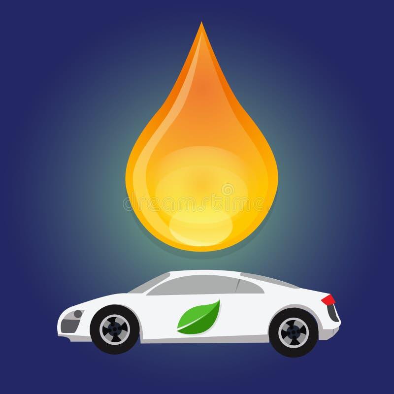 Gota eficiente da água da gota do consumo do gás de combustível do bio carro alternativo da gasolina do óleo da energia do verde  ilustração do vetor