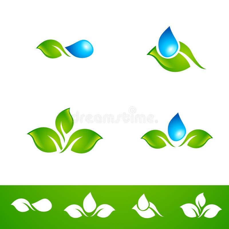 Gota Logo Set da folha e da água ilustração royalty free