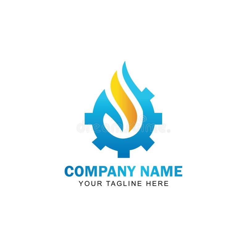 Gota Logo Vetora Design da engrenagem ilustração royalty free