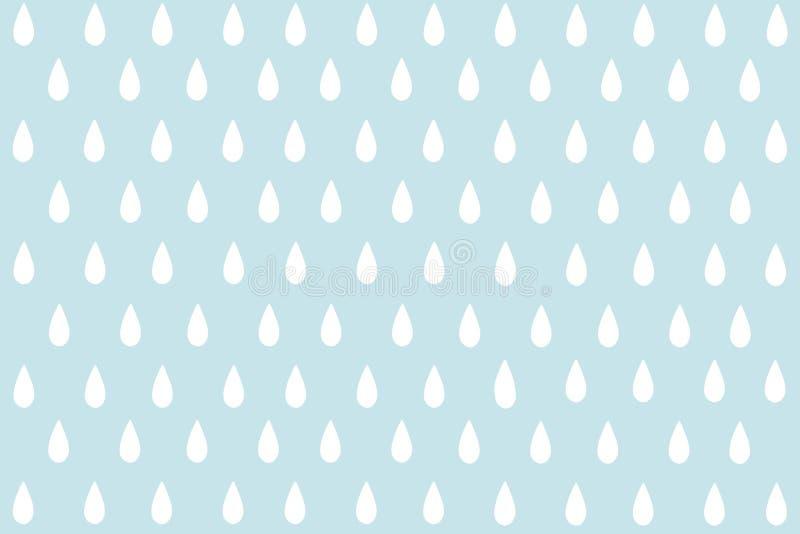 Gota pequena ou pingo de chuva da água branca com fundo pastel ciano do teste padrão Minimalismo sem emenda abstrato Pinte o esti fotografia de stock royalty free