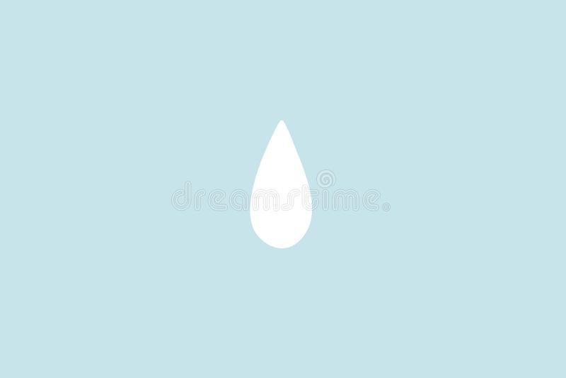 Gota pequena ou pingo de chuva da água branca com fundo pastel ciano Minimalismo abstrato Pinte o estilo dos desenhos animados foto de stock royalty free