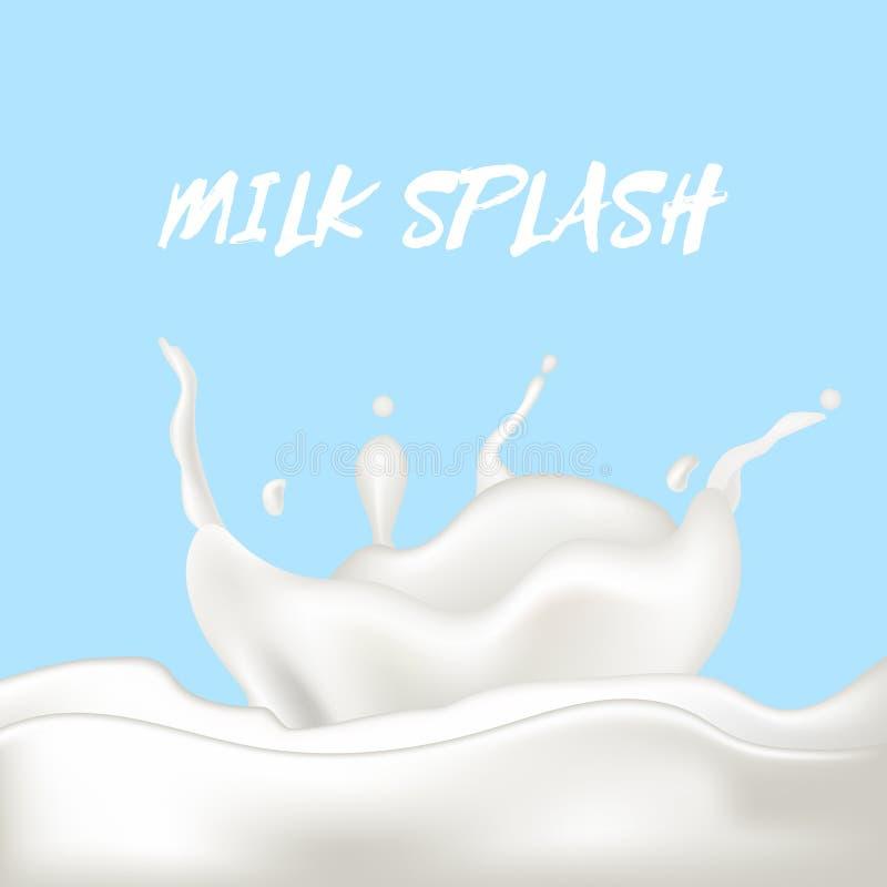 A gota realística abstrata do leite com espirra isolado no fundo azul Ilustração do vetor ilustração do vetor