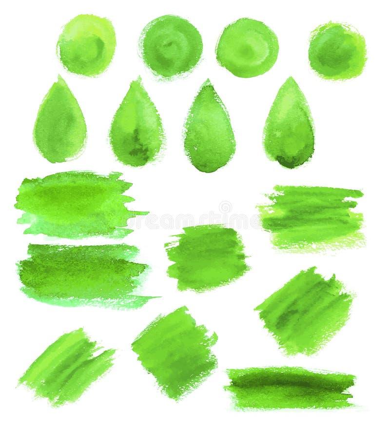 A gota verde da aquarela mancha ícones do vetor ilustração stock