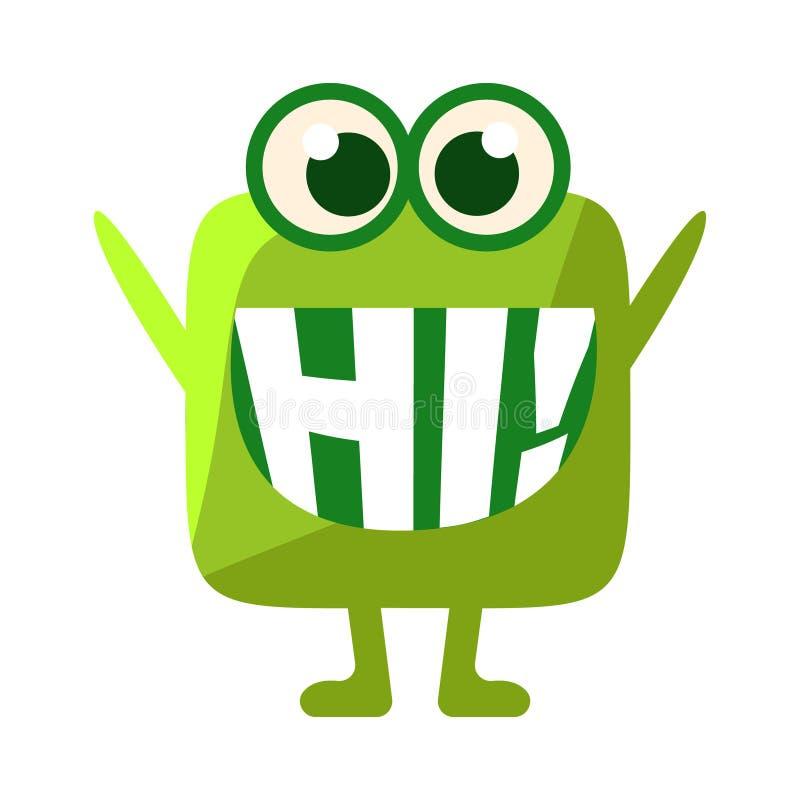 Gota verde que dice hola, carácter lindo de Emoji con palabra en la boca en vez de los dientes, mensaje del Emoticon libre illustration