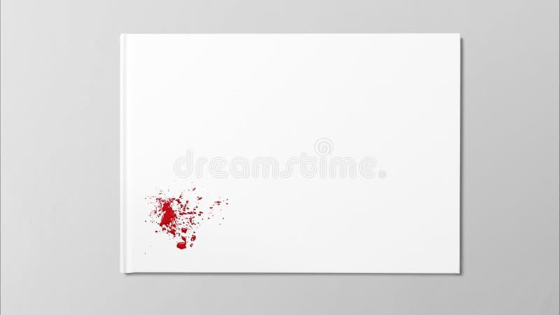 A gota vermelha chapinha a pintura da arte da mancha no Livro Branco ilustração do vetor