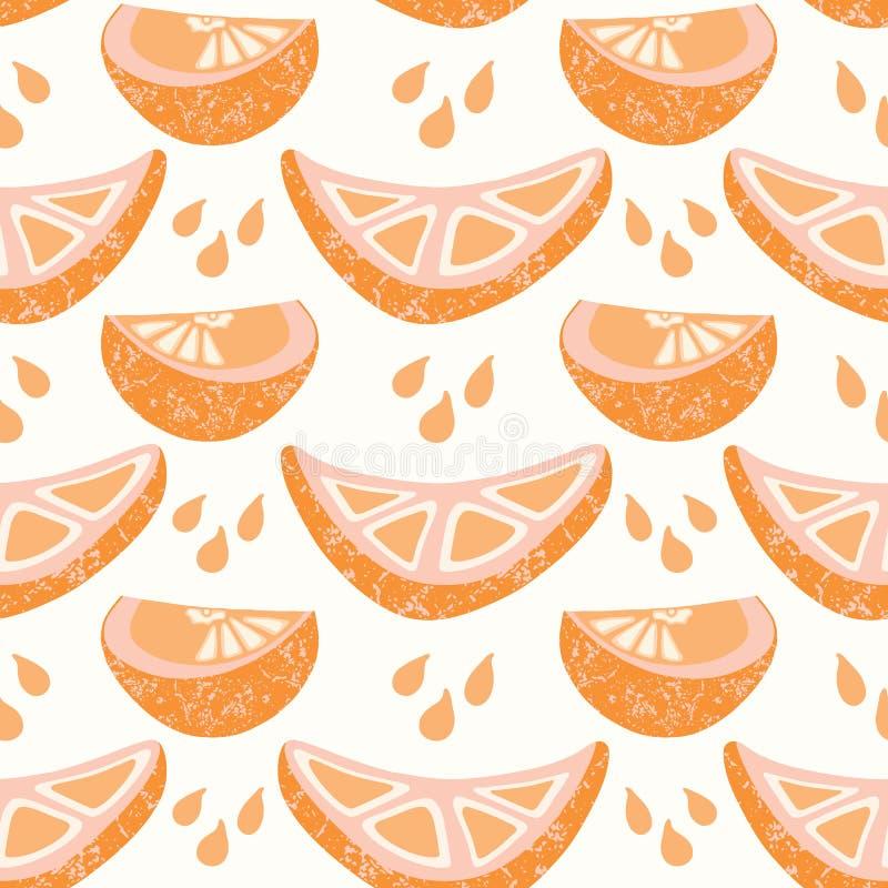 Gotas alaranjadas suculentas do respingo do slicwith do segmento dos citrinos ilustração royalty free