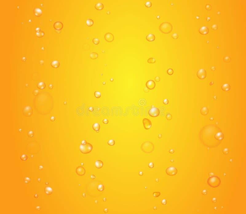 Gotas amarelas do fundo das bolhas do suco de laranja ou da cerveja ilustração stock