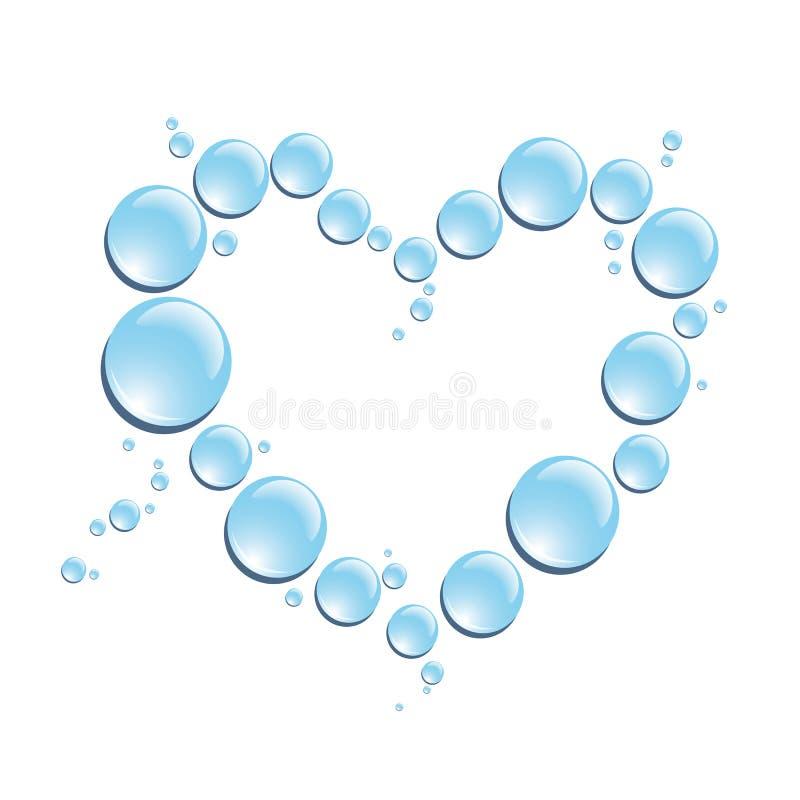 Gotas azuis da água na forma do coração ilustração royalty free