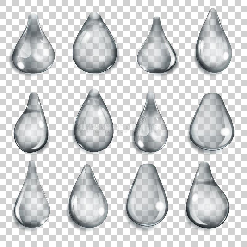 Gotas cinzentas transparentes ilustração stock