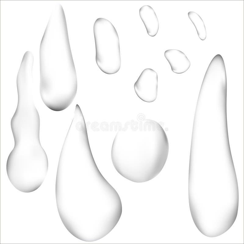 Gotas claras puras da água ou grupo realístico dos pingos de chuva Ilustração do vetor 3d transparente ilustração do vetor