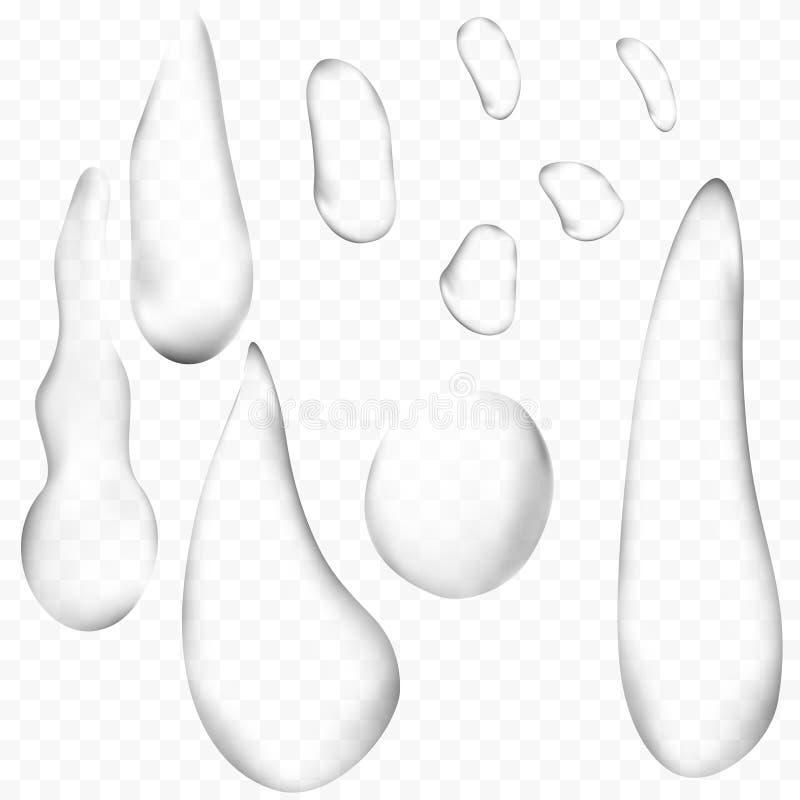 Gotas claras puras da água ou grupo realístico dos pingos de chuva isolado Ilustração do vetor 3d ilustração do vetor