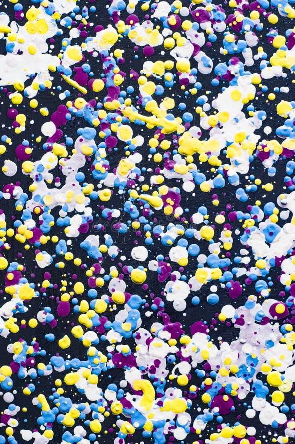 Gotas coloridas da pintura a óleo na ilustração da lona ilustração stock