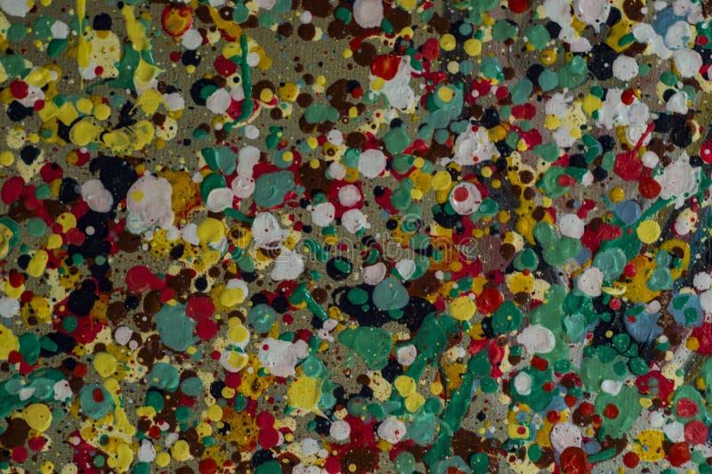 Gotas coloridas da pintura a óleo no jpg da foto da ilustração da lona ilustração stock