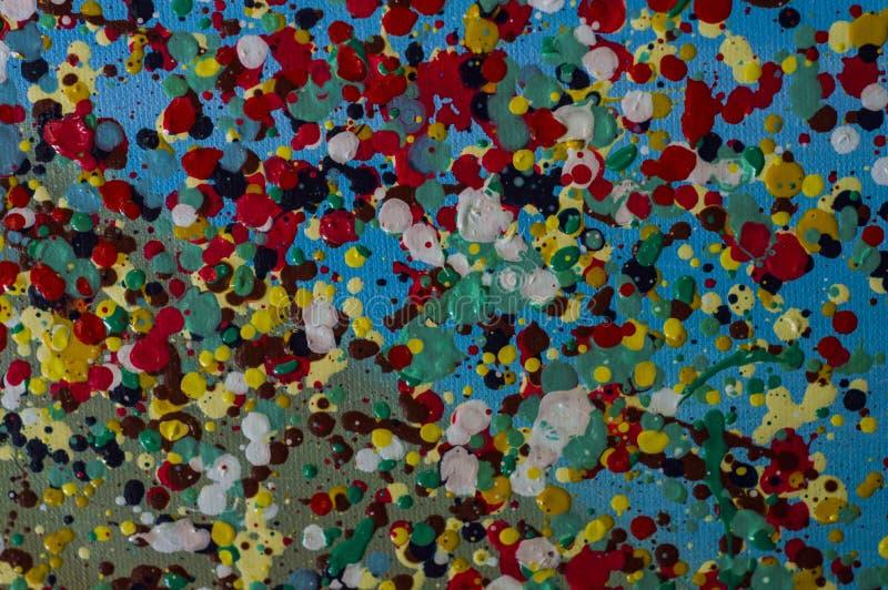Gotas coloridas da pintura a óleo no jpg da foto da ilustração da lona ilustração royalty free