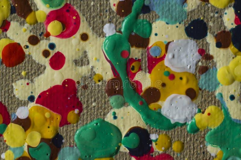 Gotas coloridas da pintura a óleo no jpg da foto da lona ilustração royalty free
