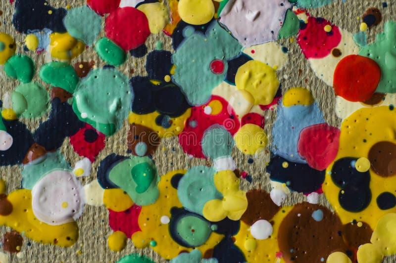 Gotas coloridas da pintura a óleo no jpg da foto da lona ilustração do vetor