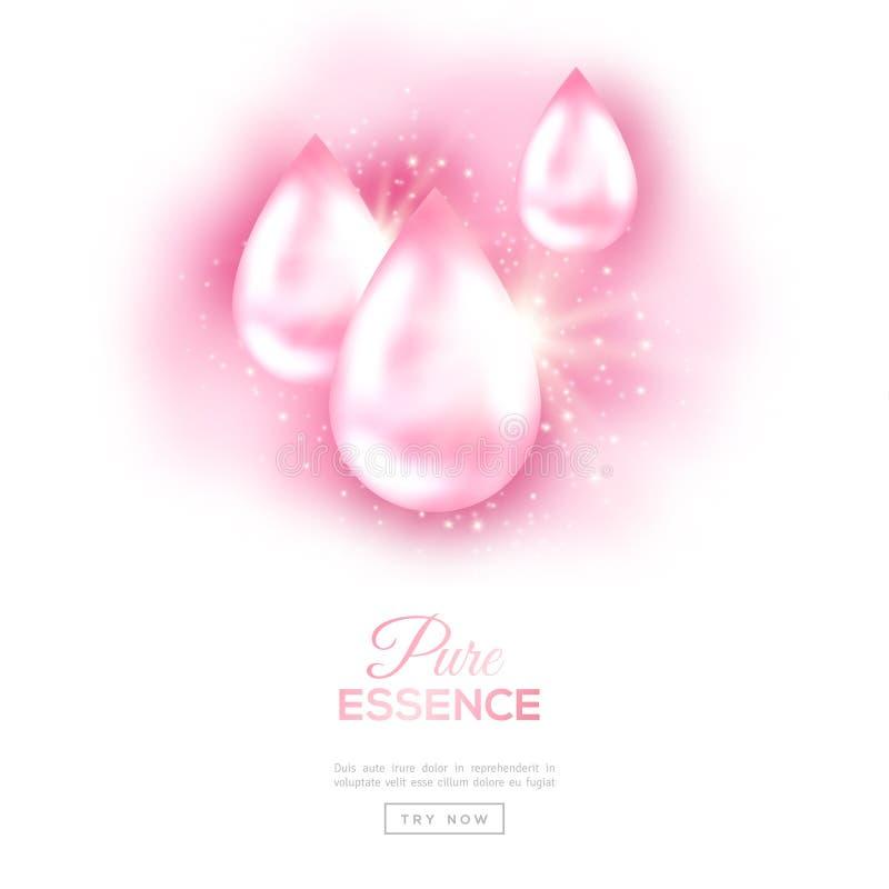 Gotas cor-de-rosa do óleo isoladas no branco ilustração stock