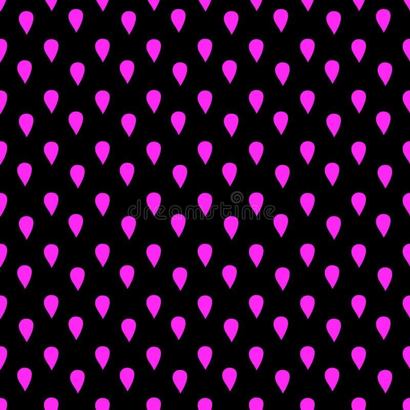 Gotas cor-de-rosa em um teste padrão sem emenda do fundo escuro ilustração stock