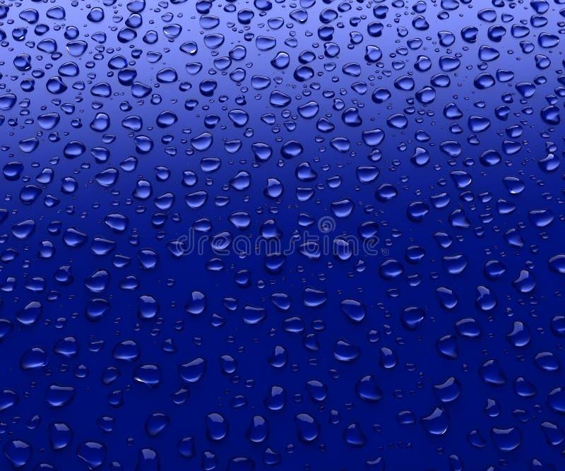 Gotas da água em um fundo azul ilustração do vetor
