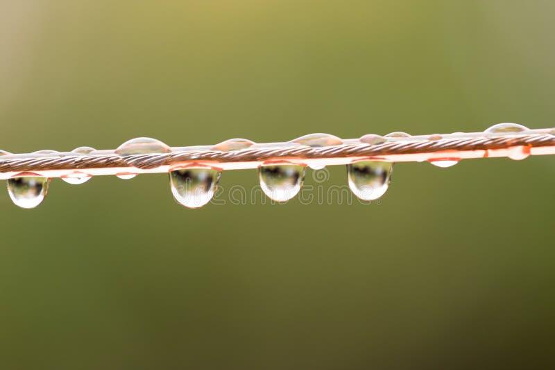 Gotas da água em uma corda Macro imagem de stock royalty free
