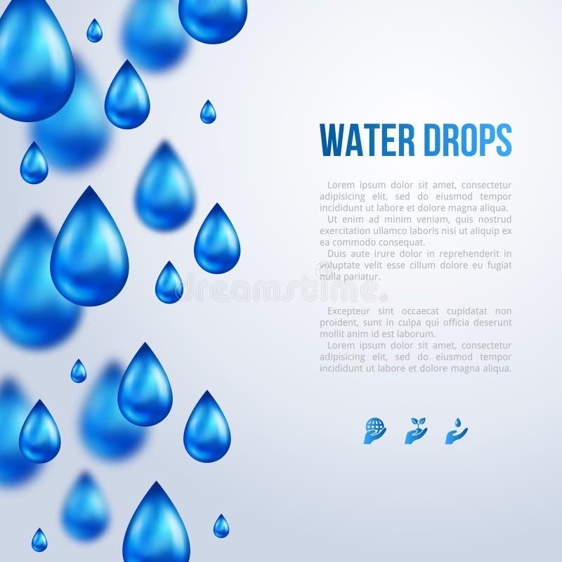 Gotas da água Ilustração do vetor Dia chuvoso ilustração royalty free