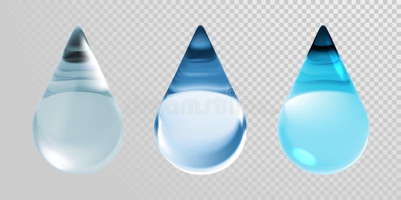 Gotas da água isoladas no fundo transparente Vector gotas de água 3d azul limpas realísticas para o creme do creme hidratante ou  ilustração do vetor
