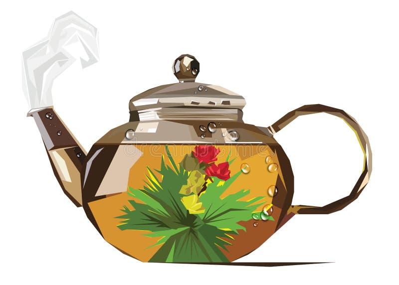 Gotas da chaleira de chá da fermentação dos pares do vetor ilustração do vetor