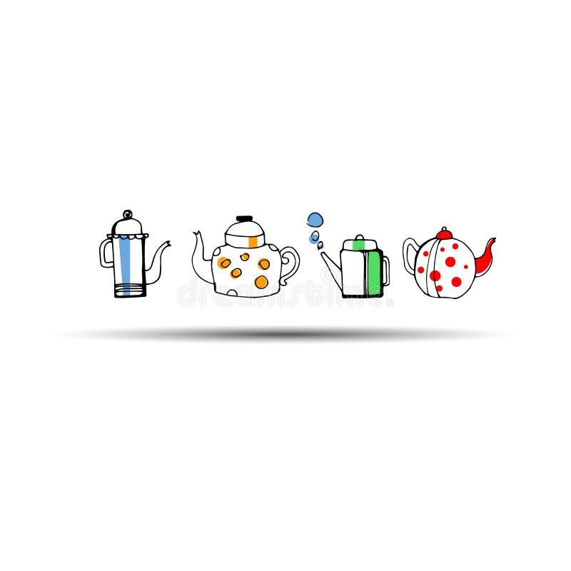 Gotas da chaleira de chá da fermentação dos pares do vetor estilizadas ilustração stock