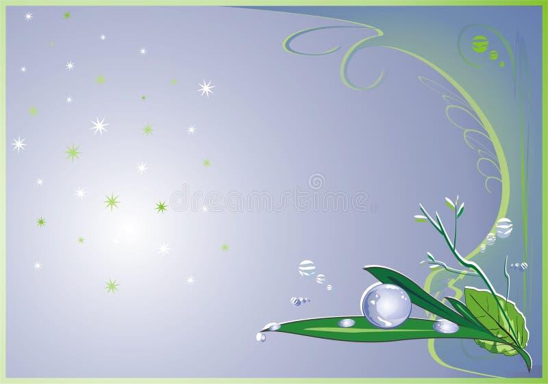 Gotas da chuva em uma folha ilustração royalty free