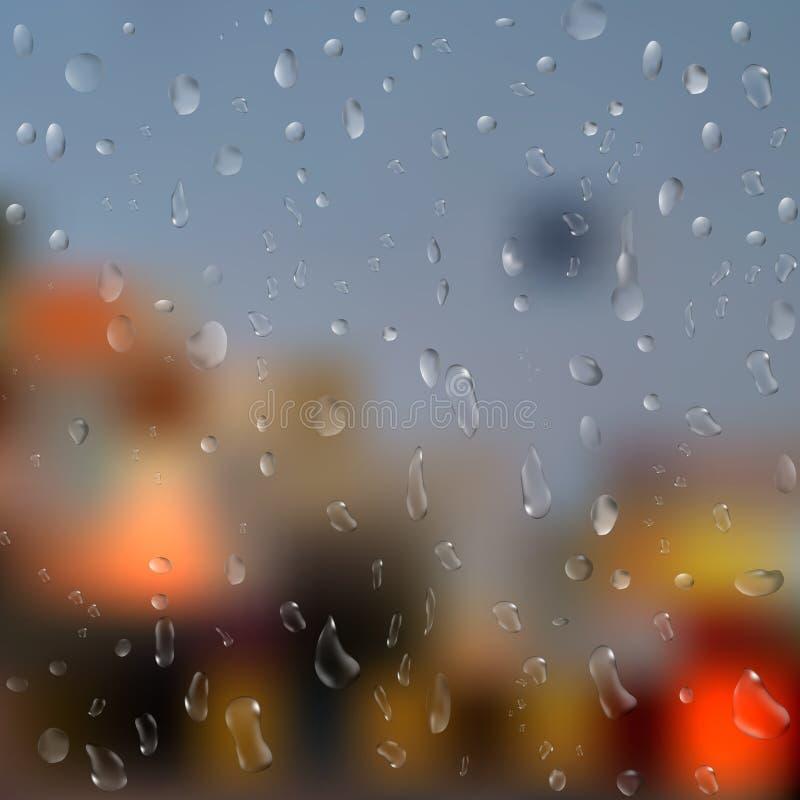 Gotas da chuva na janela com luzes abstratas ilustração 3D Vetor ilustração royalty free