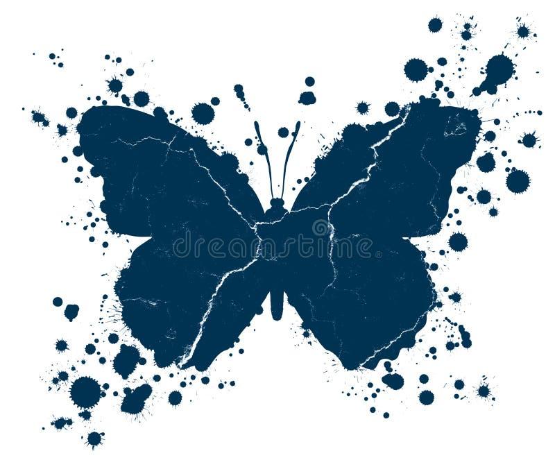 Gotas da forma e da pintura da borboleta do Grunge chapinhadas ilustração stock