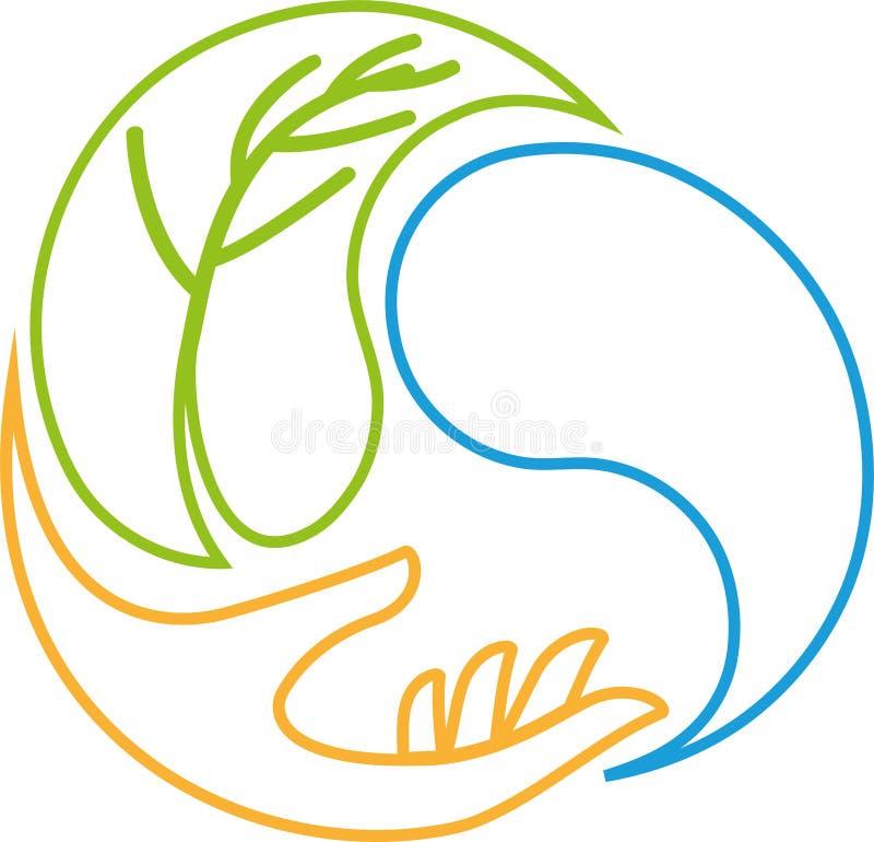 Gotas da mão, da folha e da água, bem-estar e logotipo da natureza ilustração stock