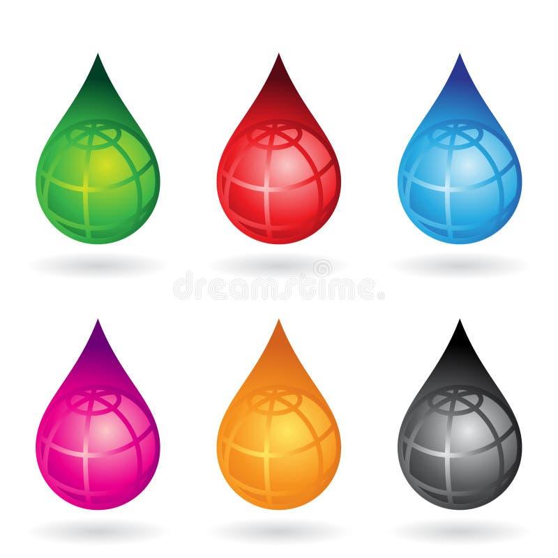 Gotas dadas forma terra da água ilustração do vetor