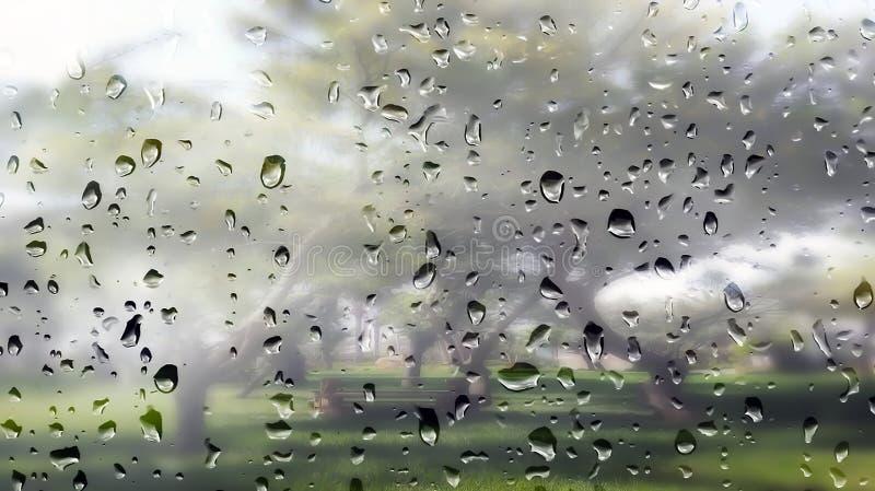 Gotas de água na janela nevoenta a um jardim fotos de stock royalty free