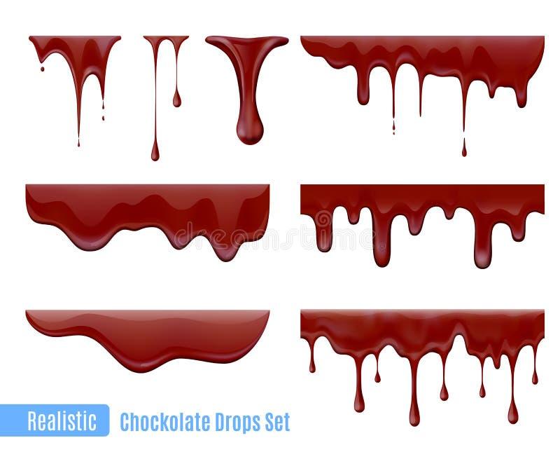 Gotas de chocolate fijadas stock de ilustración