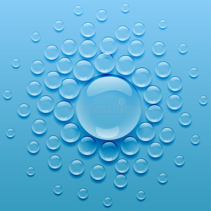 Gotas de ?gua no fundo azul ilustração do vetor