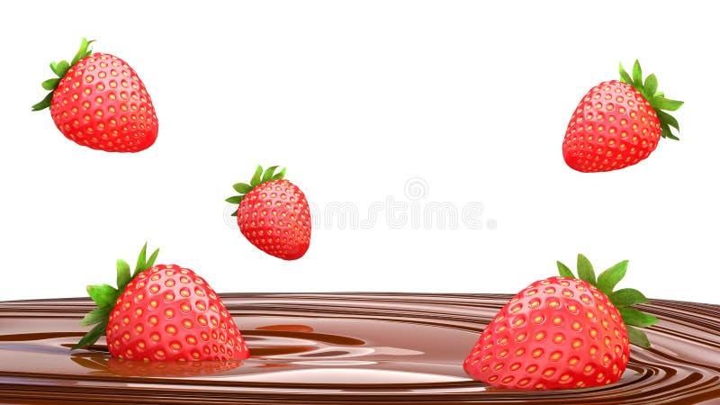 Gotas de las fresas en el chocolate del derretimiento en un fondo blanco 3 ilustración del vector