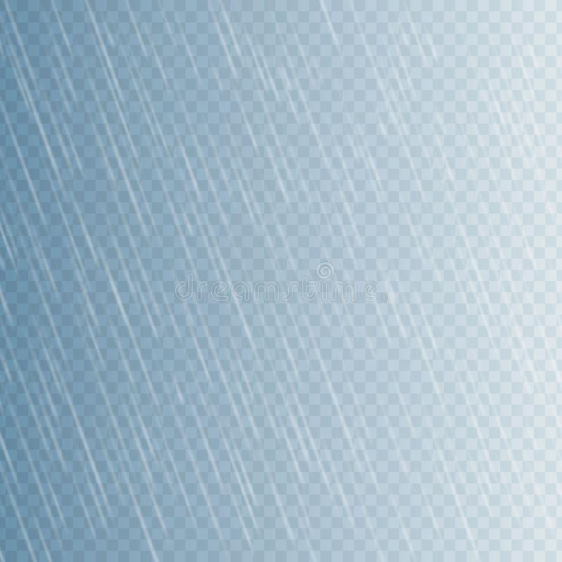 Gotas de lluvia en fondo transparente Gotas descendentes del agua Precipitaci?n de la naturaleza Ilustraci?n del vector libre illustration