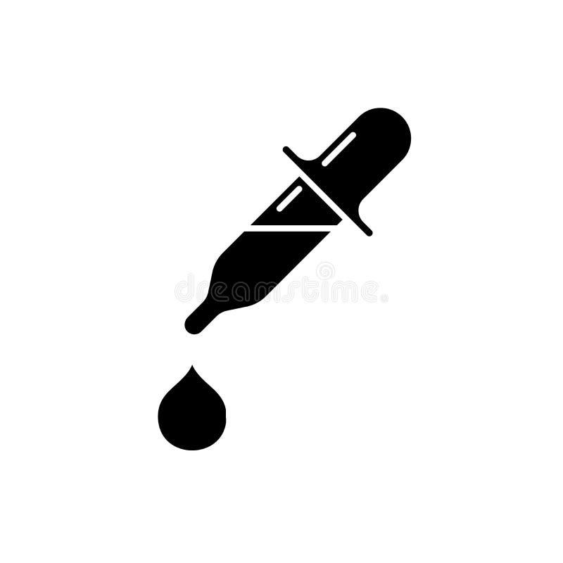 Gotas de olho ícone preto, sinal do vetor no fundo isolado Símbolo do conceito das gotas de olho, ilustração ilustração stock