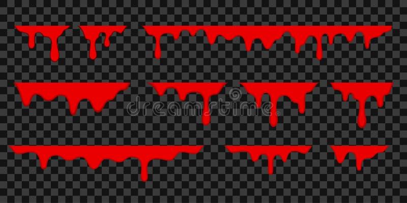 Gotas de sangre, tarjeta de felicitación del día de fiesta de Halloween Gotas que fluyen de sangre roja del vector, fronteras de  stock de ilustración