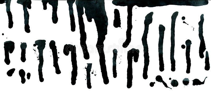 Gotas de tinta preta e gotejamentos do pulverizador isolados no branco ilustração do vetor