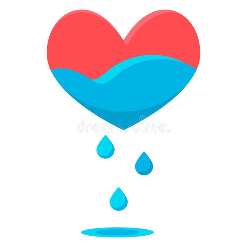 Gotas do azul do coração ilustração do vetor
