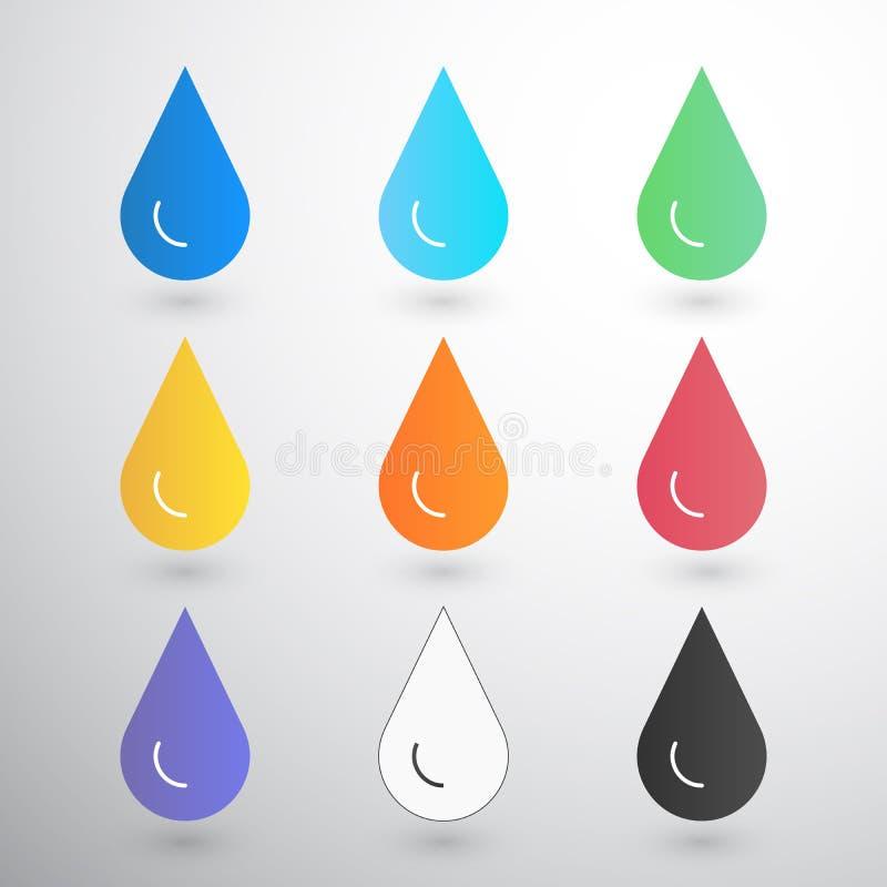 Gotas do contraste com borrão na gota branca da água, do âmbar, do sangue, da tinta, do óleo, da impressora etc. ilustração royalty free
