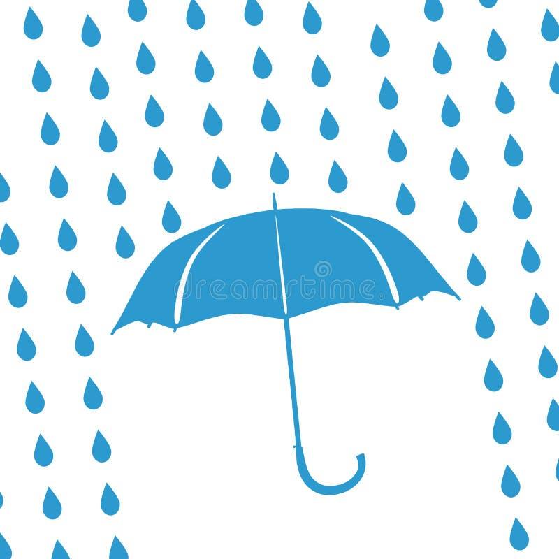 Gotas do guarda-chuva e da chuva ilustração royalty free