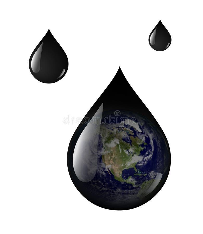 Gotas do petróleo da terra ilustração stock