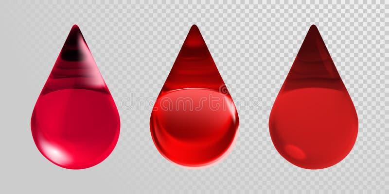 Gotas do sangue isoladas no fundo transparente Vector ícones vermelhos realísticos das gotas do sangue 3d para o centro da doação ilustração do vetor
