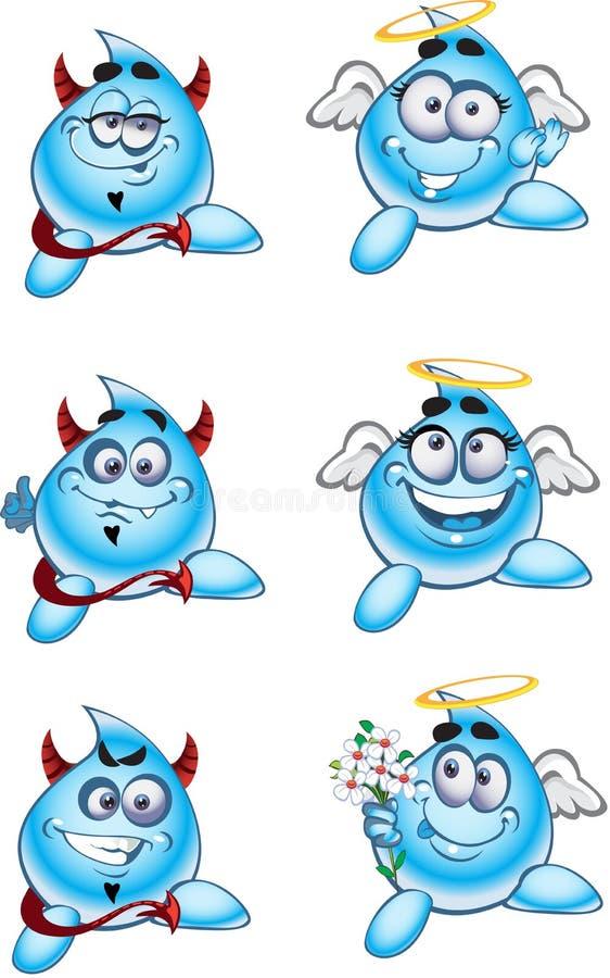 Gotas dos sorrisos dos anjos e dos diabos da água ilustração royalty free