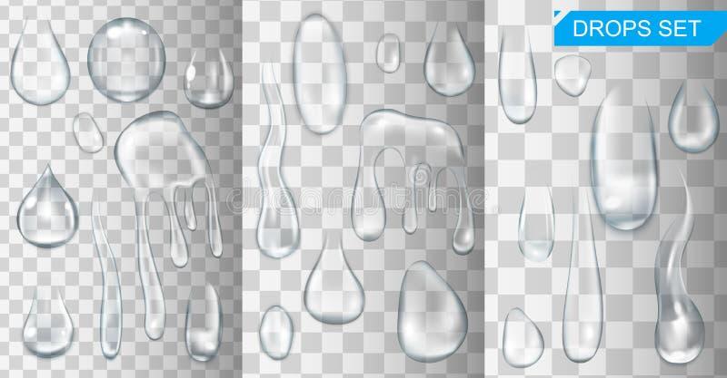 Gotas e gotejamentos de brilho realísticos da água no vetor transparente do fundo ilustração stock