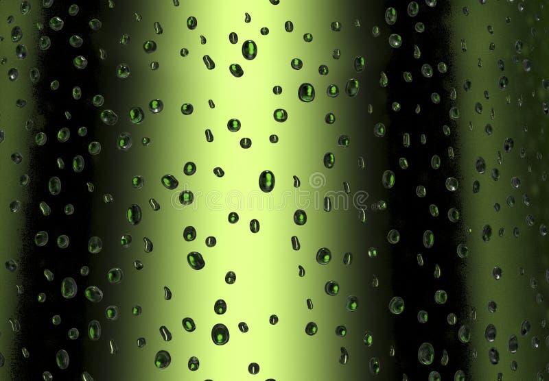 Gotas em uma garrafa de cerveja verde fria ilustração stock