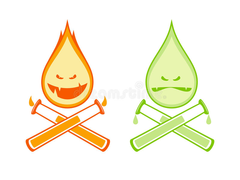Gotas engraçadas fogo e ácido com tubos de ensaio ilustração stock